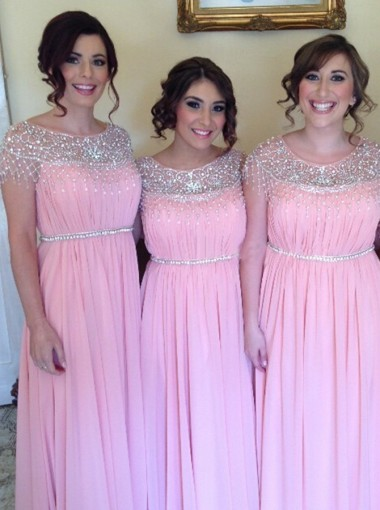 Elegant Bateau Cap Sleeveless Floor-Length Pink Chiffon Bridesmaid Dress with Beading