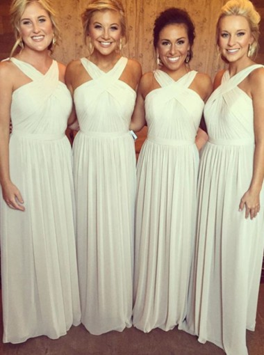 Stylish V-neck Floor-Length Ivory Chiffon Bridesmaid Dress Ruched