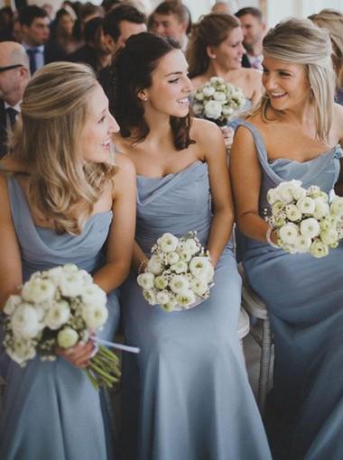 Decent One Shoulder Floor-Length Serenity Chiffon Bridesmaid Dress Ruched