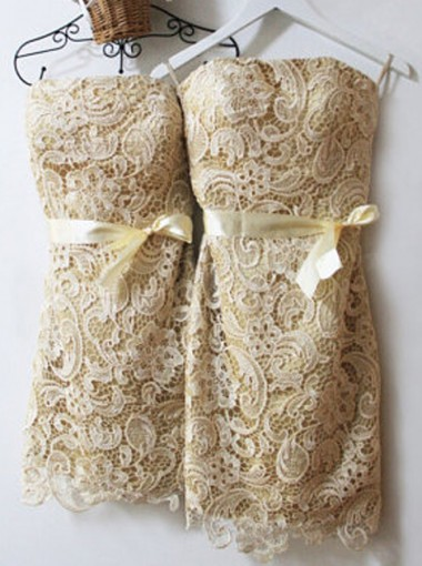 Nectarean Strapless Short Sheath Lace Champagne Bridesmaid Dress with Light Yellow Sash