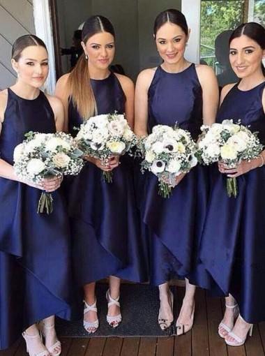 Simple Tea-Length Jewel Sleeveless Navy Blue Tiered Bridesmaid Dress
