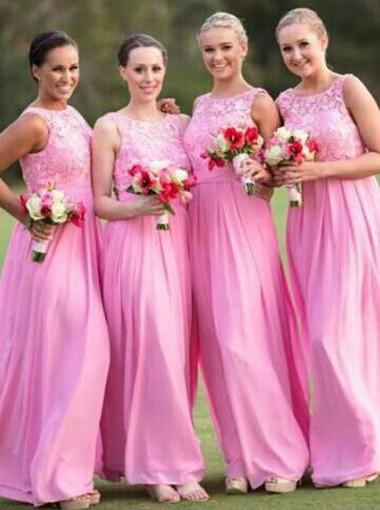 High Quality Bateau Sleeveless Floor-Length Hot Pink Bridesmaid Dress with Lace