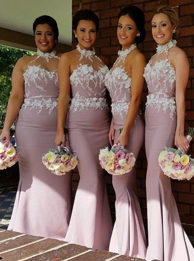Elegant Halter Mermaid Blush Bridesmaid Dress with Appliques Sash