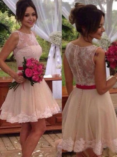 Stylish Jewel Sleeveless Short Blush Bridesmaid Dress with Sash Illusion Back Lace Top