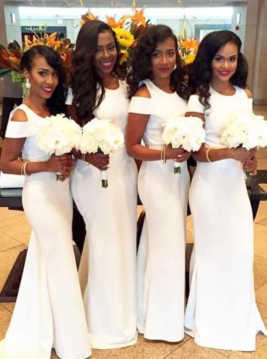 Simple Jewel Short Sleeves Sweep Train White Mermaid Bridesmaid Dress