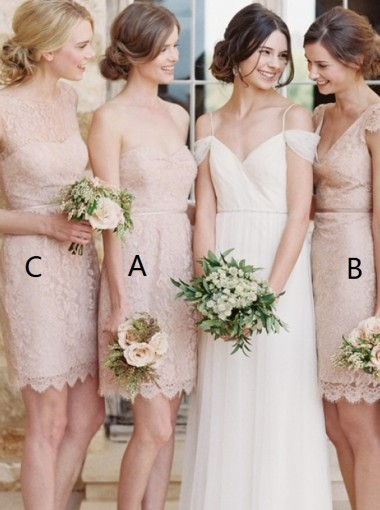 A-Line Sweethert Short Pearl Pink Lace Bridesmaid Dress