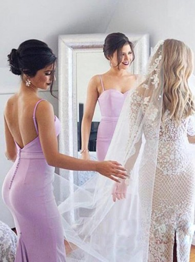 Mermaid Spaghetti Straps Sweep Train Lavender Elastic Satin Bridesmaid Dress