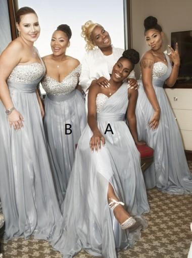 A-Line One Shoulder Grey Chiffon Bridesmaid Dress with Sequins Split