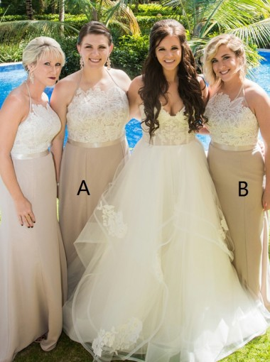 Sheath Halter Sweep Train Light Champagne Bridesmaid Dress with Appliques