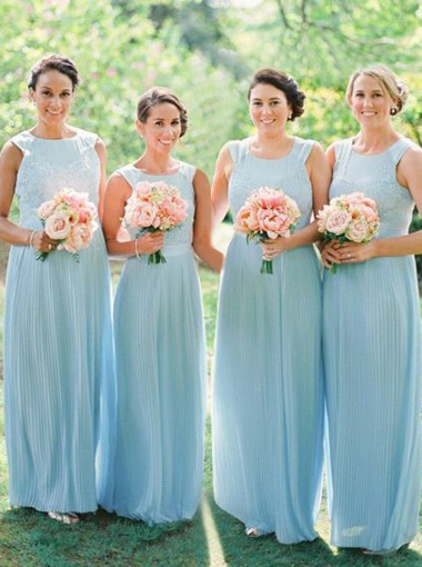 A-Line Bateau Light Sky Blue Chiffon Bridesmaid Dress with Lace