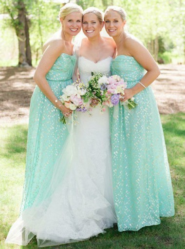 A-Line Sweetheart Floor-Length Mint Green Floral Bridesmaid Dress