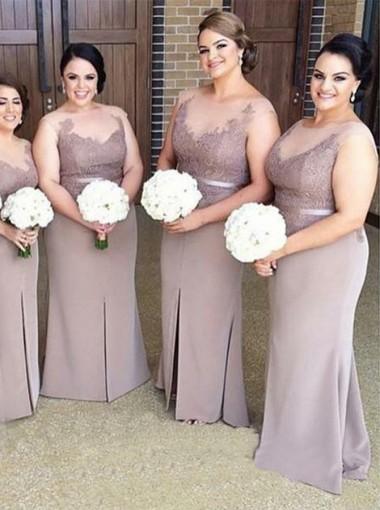 Sheath Illusion Bateau Light Gray Bridesmaid Dress with Appliques
