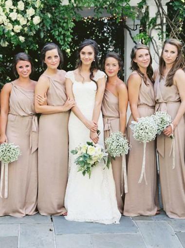 Sheath One Shoulder Champagne Elastic Satin Bridesmaid Dress with Sash