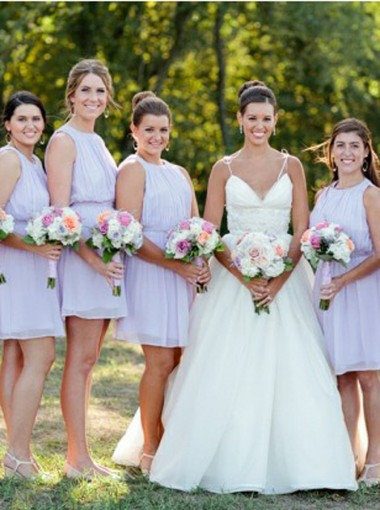 A-Line Round Neck Short Lavender Chiffon Bridesmaid Dress Open Back