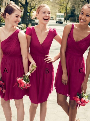 A-Line One Shoulder Short Pleated Dark Fuchsia Chiffon Bridesmaid Dress