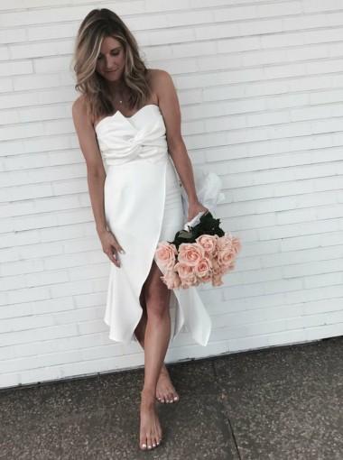 Sheath Sweetheart Asymmetrical Ruched Ivory Satin Bridesmaid Dress