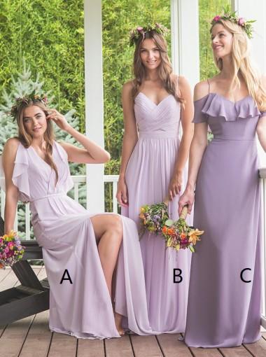 A-Line V-Neck Lavender Chiffon Bridesmaid Dress with Ruffles Split
