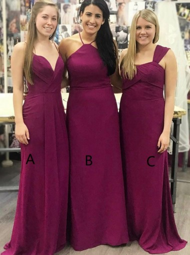 A-Line Spaghetti Straps Sweep Train Grape Chiffon Bridesmaid Dress