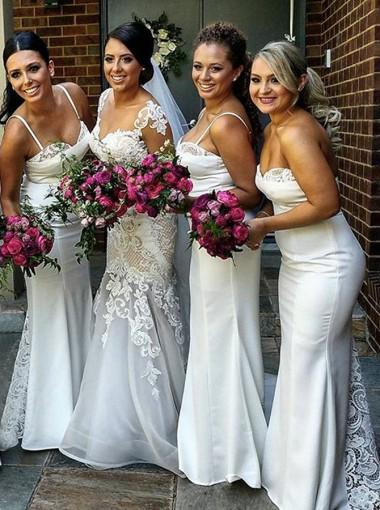 Mermaid Spaghetti Straps Sweep Train White Bridesmaid Dress with Lace