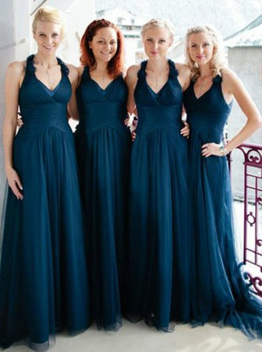 A-Line V-Neck Sweep Train Dark Blue Ruched Tulle Bridesmaid Dress