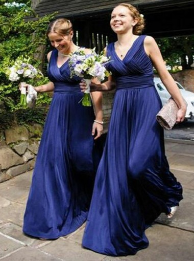 A-Line V-Neck Floor-Length Royal Blue Ruched Chiffon Bridesmaid Dress