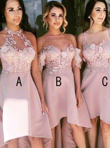 High Low Halter Blush Satin Bridesmaid Dress with Appliques