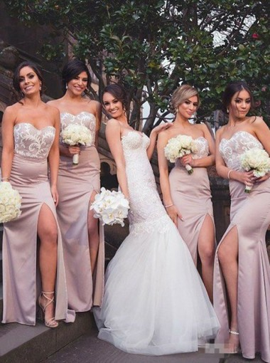 Sheath Sweetheart Floor-Length Blush Bridesmaid Dress with Lace
