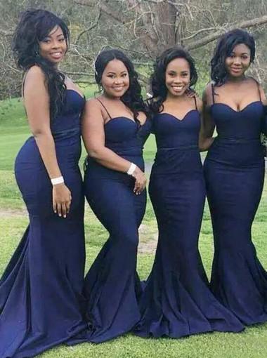Mermaid Spaghetti Straps Sweep Train Navy Blue Bridesmaid Dress