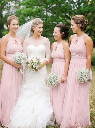 A-Line Round Neck Keyhole Pink Pleated Chiffon Bridesmaid Dress