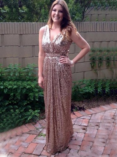 A-Line V-Neck Floor-Length Champagne Sequined Bridesmaid Dress