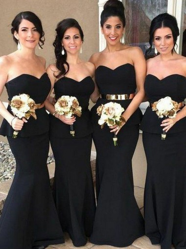 Mermaid Sweetheart Black Elastic Satin Ruffles Bridesmaid Dress