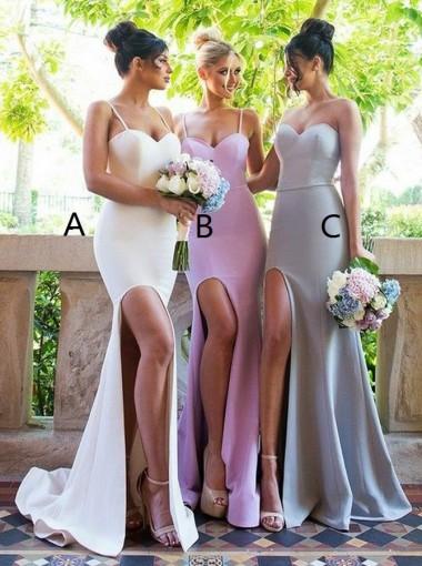 Mermaid Spaghetti Straps Sweep Train White Split Bridesmaid Dress