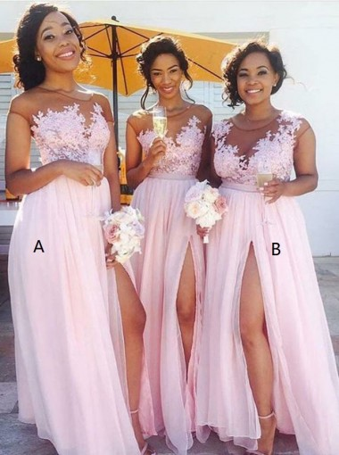 A-Line Bateau Cap Sleeves Pink Chiffon Appliques Bridesmaid Dress