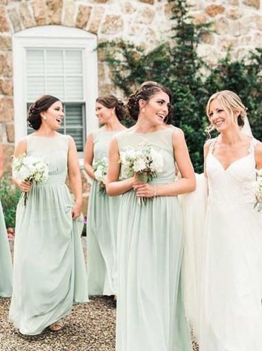 A-Line Bateau Pleated Mint Chiffon Bridesmaid Dress