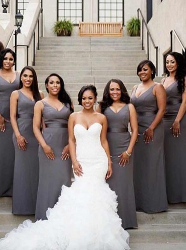 Sheath V-Neck Floor Length Grey Elastic Satin Bridesmaid Dress with Sash