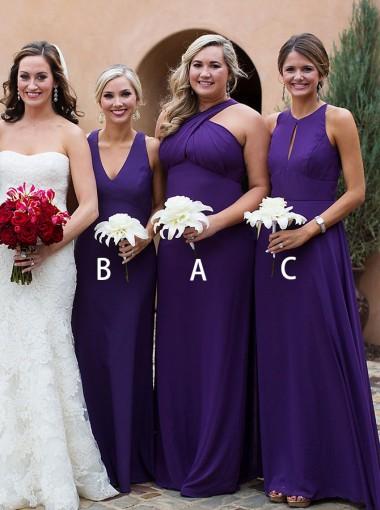 A-Line Cross Neck Sweep Train Grape Chiffon Bridesmaid Dress