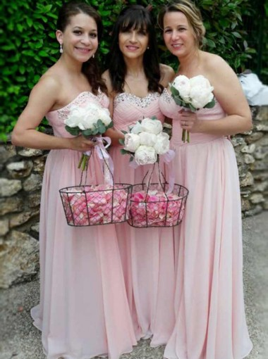 A-Line Sweetheart Pink Chiffon Bridesmaid Dress with Beading