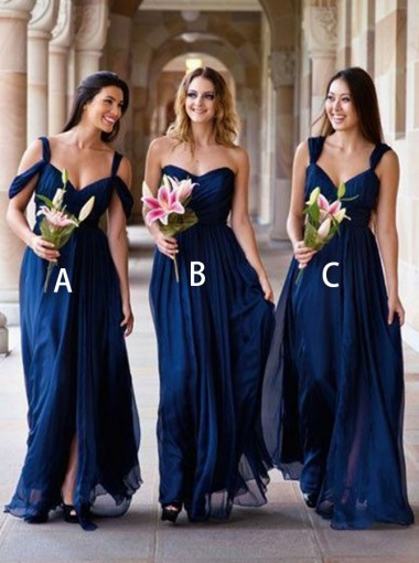 A-Line Cold Shoulder Navy Blue Chiffon Bridesmaid Dress with Split