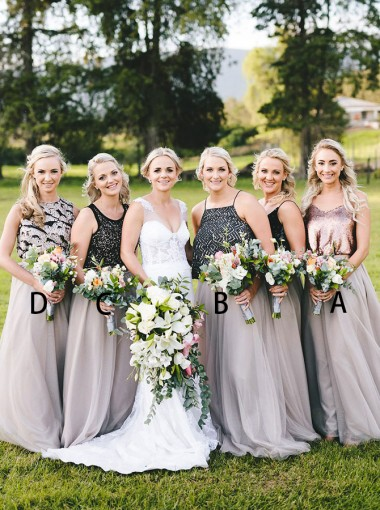 Two Piece V-Neck Rose Gold Tulle Bridesmaid Dress with Sequins