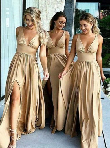 A-Line V-Neck Champagne Elastic Satin Bridesmaid Dress with Split