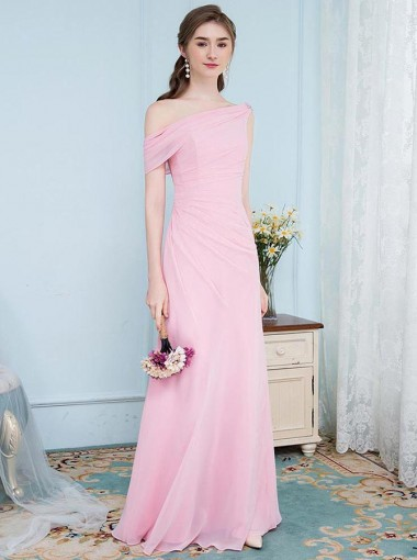 Mermaid One Shoulder Ruched Pink Chiffon Bridesmaid Dress