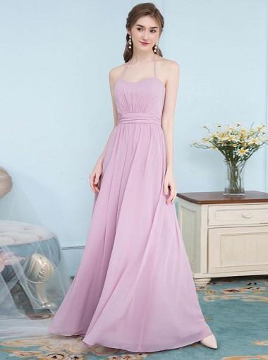 A-Line Halter Pleated Blush Chiffon Bridesmaid Dress