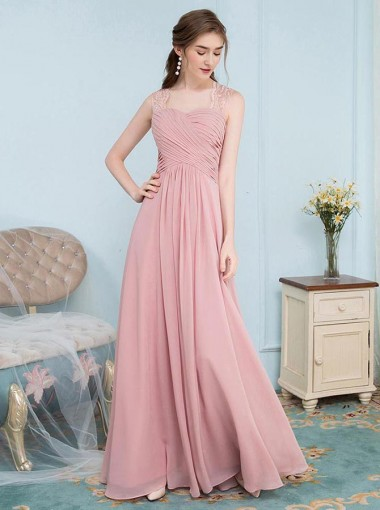 A-Line Square Neck Pink Chiffon Bridesmaid Dress with Lace