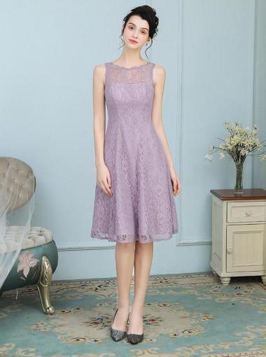 A-Line Round Neck Knee Length Purple Lace Bridesmaid Dress
