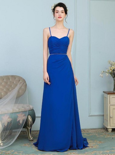 A-Line Spaghetti Straps Ruched Blue Chiffon Bridesmaid Dress with Beading