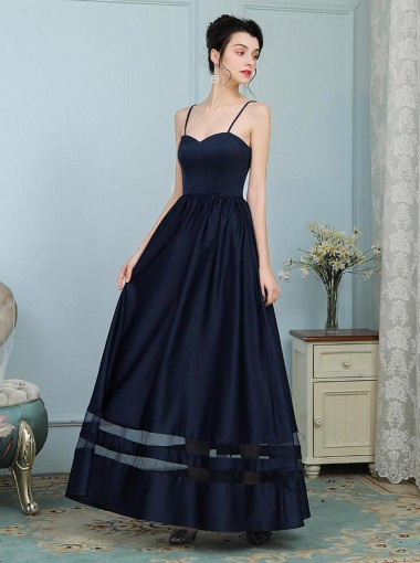 A-Line Spaghetti Straps Navy Blue Elastic Satin Bridesmaid Dress