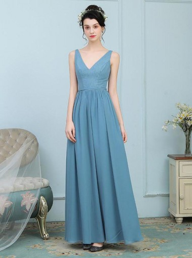 A-Line V-Neck Turquoise Chiffon Bridesmaid Dress with Lace