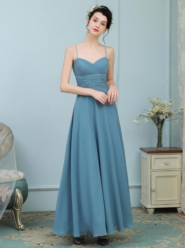 A-Line Spaghetti Straps Turquoise Chiffon Bridesmaid Dress with Beading