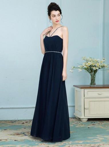 A-Line Cross V-Neck Navy Blue Chiffon Bridesmaid Dress with Beading
