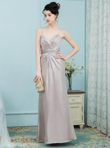 A-Line Spaghetti Straps Champagne Ruched Elastic Satin Bridesmaid Dress